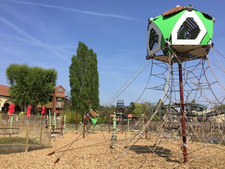 Playground equipment of the Berliner Seilfabrik in the Bobbejaanland amusement park, Belgium